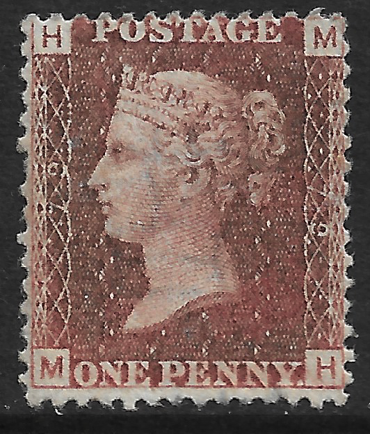 GB stamp, 1864, Queen Victoria SG43/44, 1d rose/lake red, Plate 79 letters  M-H, mint