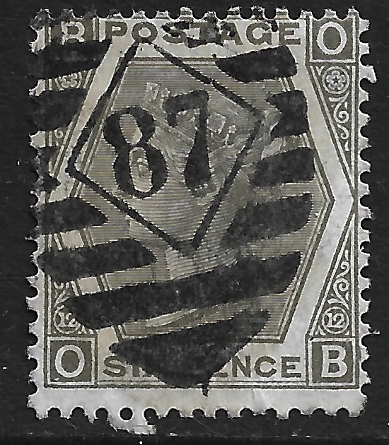 GB stamp, 1872-73, Queen Victoria SG125, 6d, grey, Plate 12, London 87