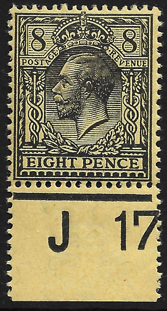GB stamp, 1912-24, King George V,  SG390, 8d black on yellow, Control J17, mint