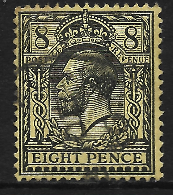 GB stamp, 1912-24, King George V,  SG390, 8d black on yellow, used