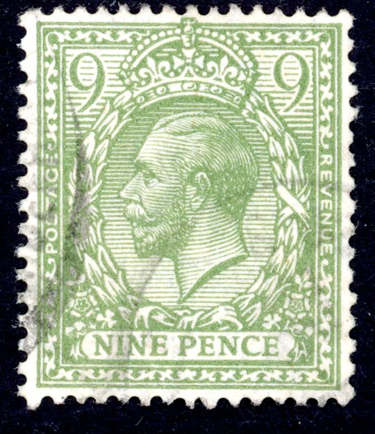 GB stamp, 1912-24, King George V,  SG393b, 9d pale olive-green, used