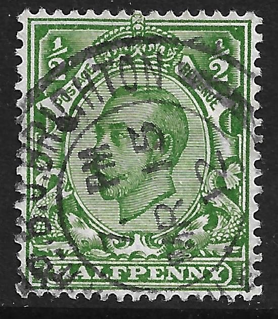 GB stamp, 1912, King George V,  SG339, 1/2d Green, used.